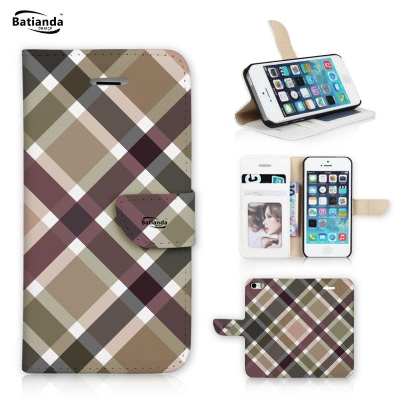 For Apple iPod Touch 5 font b Tartan b font Check Pattern Wallet Cover Flip PU