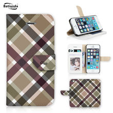 For Apple iPod Touch 5 Tartan / Check Pattern Wallet Cover Flip PU Leather Case Touch 5 Mobile Phone Bag Cases Cover