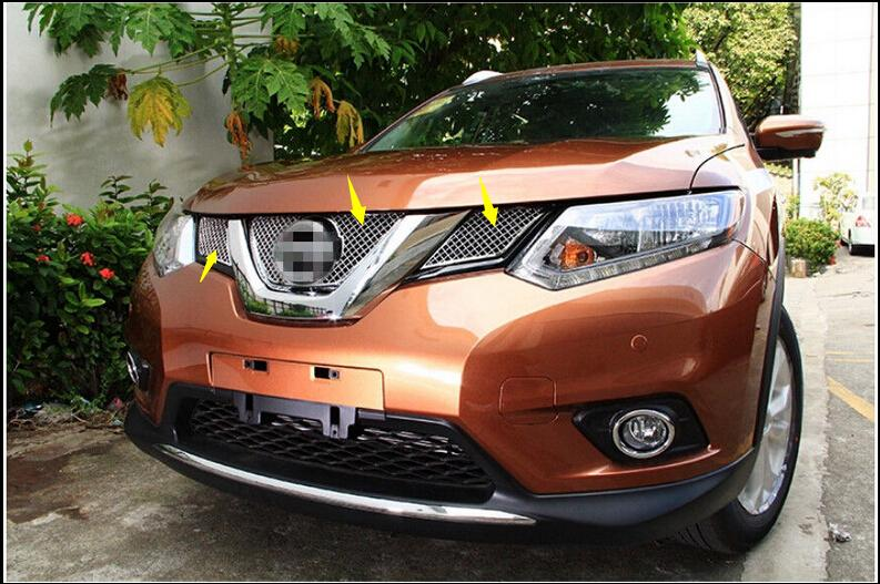 Фотография Honeycomb style! Front Grille Grill Bezel Cover Trim 3 pcs For Nissan X-Trail 2014 2015 / Rogue 2014-2015