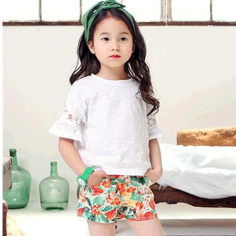 White Pink Summer Girl Shirt Lace Half Sleeve Girl Clothes High Quality Cotton Loose Kids Shirts Girls Tops