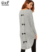 Buy Dotfashion Korean Tops Clothes Women Long Sleeve Tops Winter Casual Women Grey Marled Knit Bow Back High Low T-shirt for $9.98 in AliExpress store