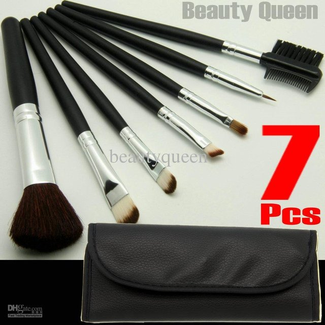 5 Sets Lot 7 Pcs Professional COSMETIC MAKEUP BRUSHES SET GOAT HAIR Black Leather Bag NEW FREE SHIP