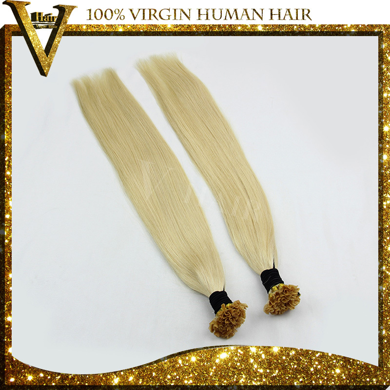 Keratin U Tip Nail Tip Hair Extensions 16-24 Inches Human Hair 27 Colors Viable 1.0 Gram Fusion Hair(China (Mainland))