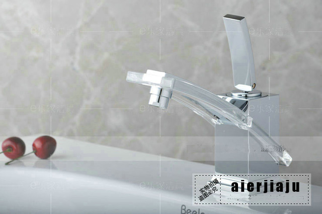 Free shiping hot sales ffashion creative crystal basin faucet tap with glass cold and hot water copper brass chrome plating