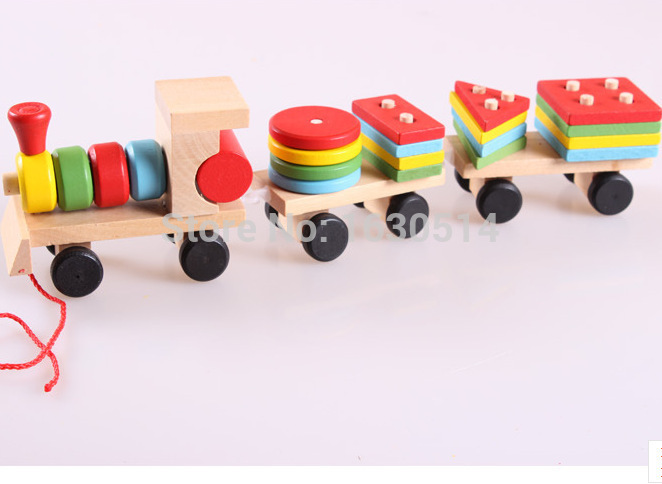 The hot sale Shape Of Three Section Blocks Cars Small Tractor Train Environmental Protection Wooden Toy Train free shipping(China (Mainland))