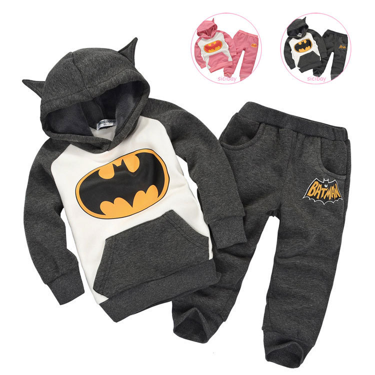 2015 New Arrival girls & boys clothing sets Batman spring & autumn HOT kids cotton sports children suits child twinsets, A1175(China (Mainland))