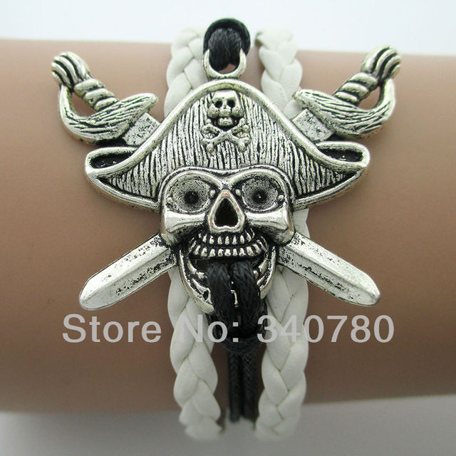 Fashion pirate silver charm white and black leather strap wax cords bracelets The Vikings charm bracelet Free shipping