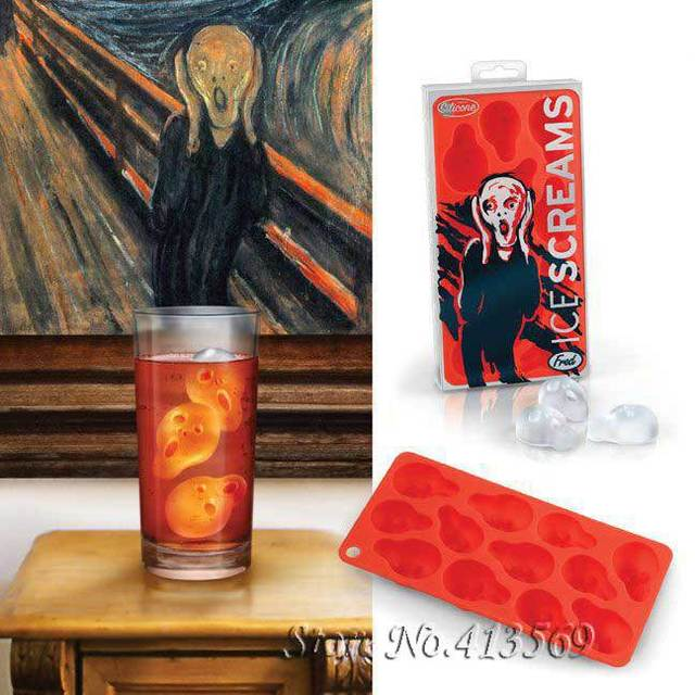 Ice Screams Silicone Ice Cube Tray From Edvard Munch's The Scream,Skull Ice Cube Tray