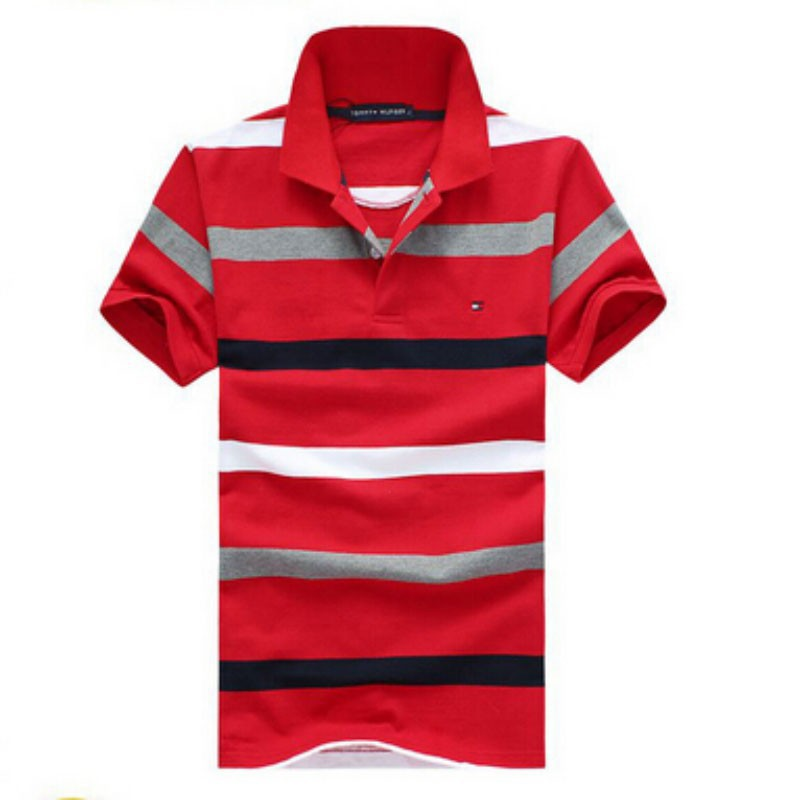 2015 embroidery cotton pinstripe loose big yards American leisure fashion men s short sleeve POTDLO shirt