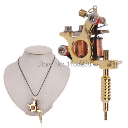 MINI Replica Tattoo Machine Pendant Golden Women Jewelry Supplies Free Shipping(China (Mainland))