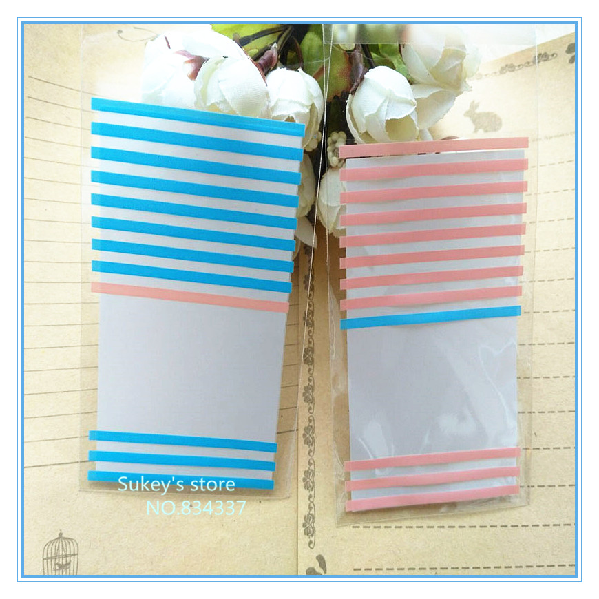 100pcs/lot 2colors stripe cookie packaging bags 6x10cm samll self adhesive plastic bags free shipping(China (Mainland))