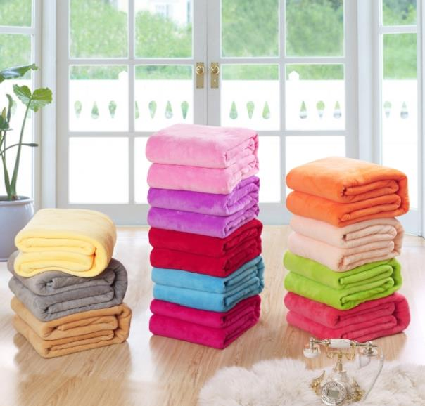 wholesale 4 pieces a lot! solid color plaid flannel coral fleece blanket on bed for sofa, soft sheet quilt bedspread 90*140CM(China (Mainland))