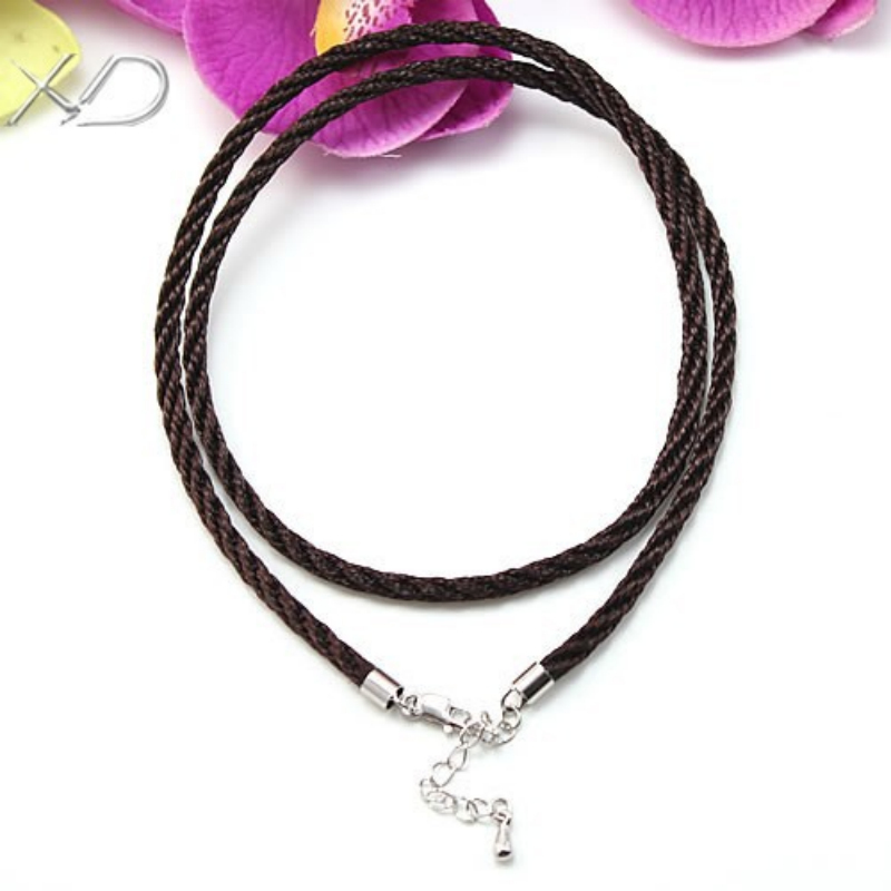 XD MF01401 3.0mm Cotton braided rope necklace fiber cords with 925 sterling silver clasps and drop extended chain(China (Mainland))