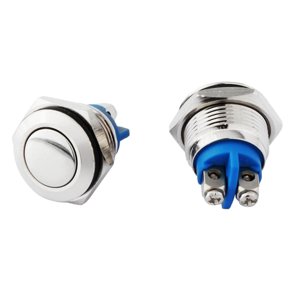 2Pcs 16mm Car Auto Stainless Steel Push Button Switch Flap Head Start Horn Switch Button Momentary Automaticly Back Silver(China (Mainland))