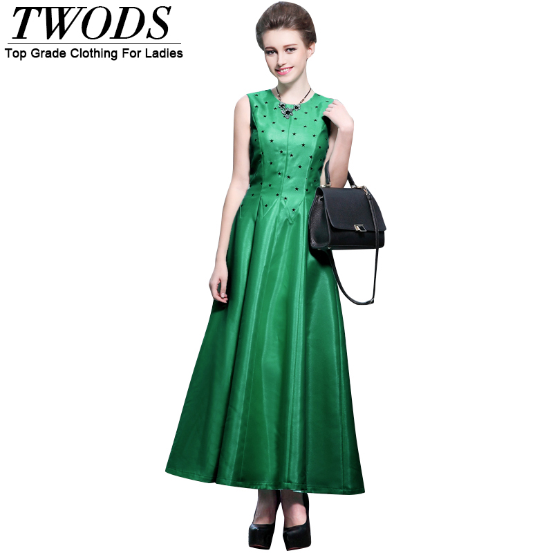 Twods 2016 Spring Summer New Fashion Women Long Dress Star Embellish Sleeveless O-neck Slim Cut Swing Muslim Maxi Dresses Green