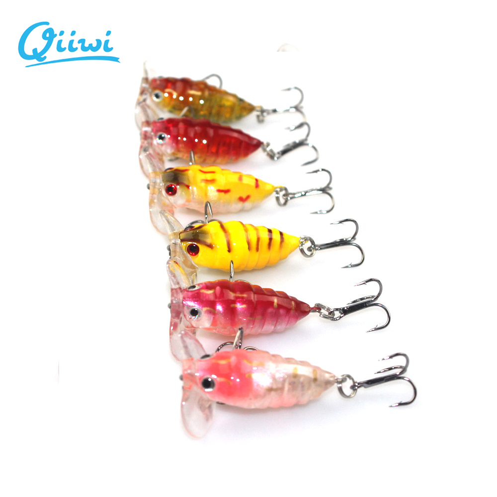 6PCS/lot 4cm 4.2 g Sea Fishing Tackle Tool Hard Body Cicada Bait Lure Seawater Floating Wobbler 3D Eyes Insect Bait with Hooks()