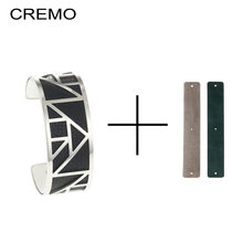 Cremo Stainless Steel Bracelet Manchette Femme Bijoux DIY Reversible Leather Cuff Bangles for Women Jewelry 12 Color Pulseiras(China)