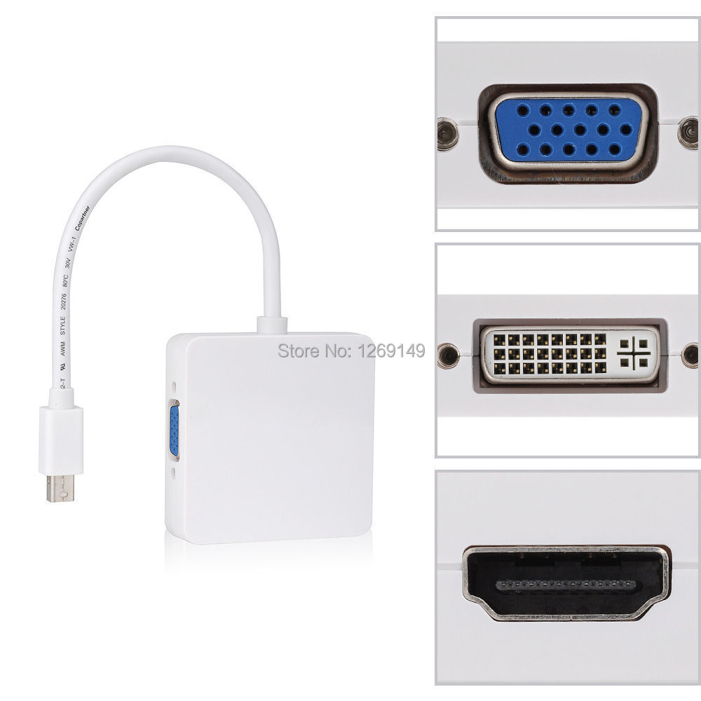 Mini Display Port DP Thunderbolt to DVI VGA HDMI Converter Adapter 3 in 1 for Apple
