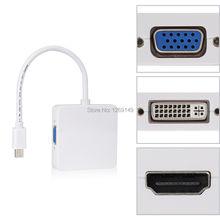 Mini Display Port DP Thunderbolt to DVI/VGA/HDMI Converter Adapter 3 in 1 for Apple iMac Mac Mini Pro Air Book