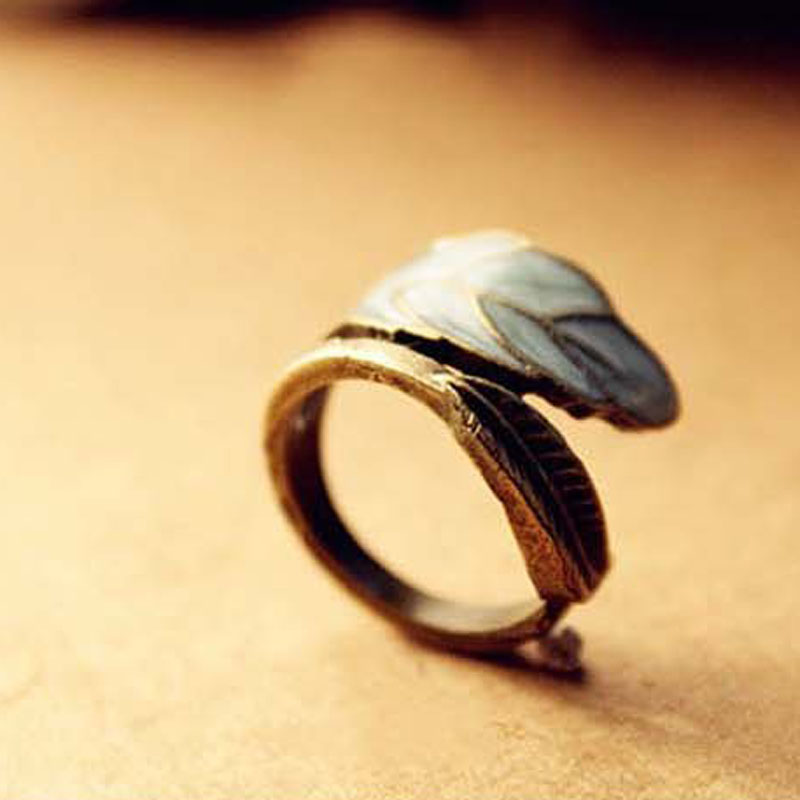 2016 New Fashion Restore Ancient Ways Adorn Article Super Simple Sense Colored Glaze Leaves Ring R213(China (Mainland))