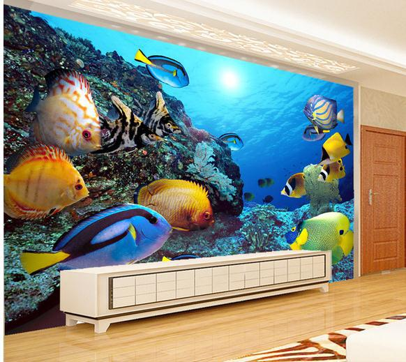 Aquarium bedroom wallpaper for 3d aquarium wallpaper for bedroom