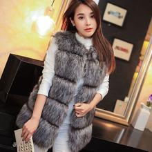 2016 New Arrival Winter Warm Fashion Women Faux Fur Vest Faux Fur Coat Fox Fur Long Vest Colete Feminino plus size 3XL 4XL(China (Mainland))