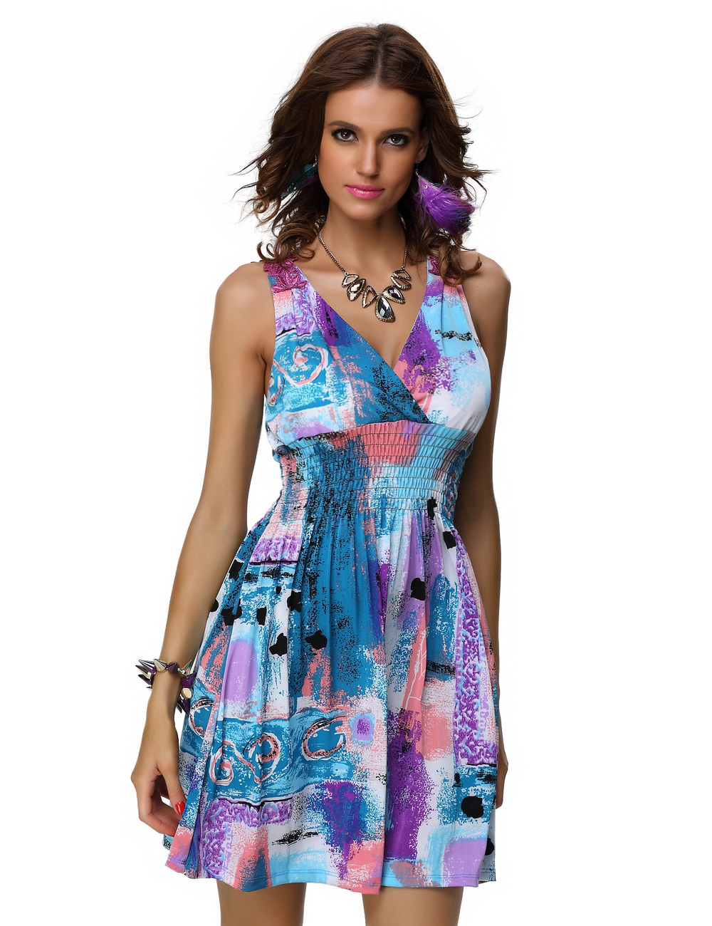 New Arrive Beach Dress Sexy Colorful Printed Design Fashion Lady Summer Dress(China (Mainland))