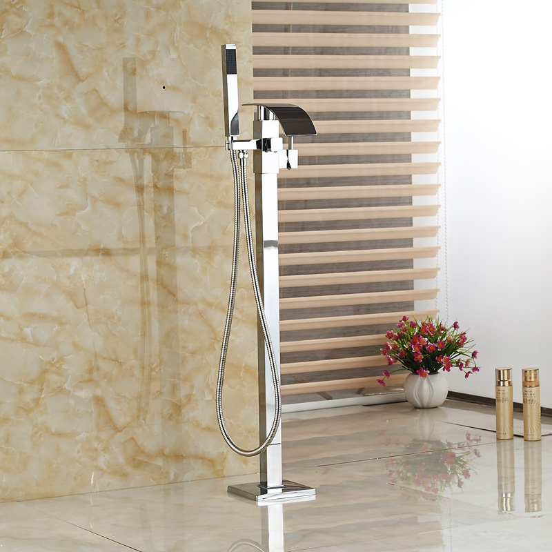 Hot new Floor Mounted Waterfall Bathtub Faucet with Hand shower Tub Mixer Tap Free Standing(China (Mainland))