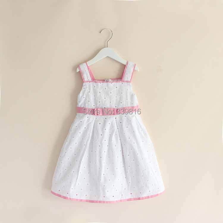 2014 Hot Original Brand Toddler Girl's White Cotton Brief Pattern Dress with Bow for Kids 4T/5T/6T/8T/10T(China (Mainland))