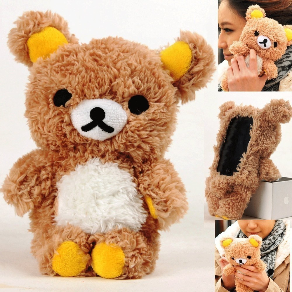 Cute 3D Teddy Bear Doll Toys Plush Phone Case ForFor iphone 7 7 plus cell Phones Housing Warm Capa Fundas For Kid's()