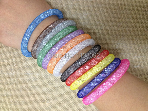 free ePacket 10pcs/lot Colorful Stardust Bracelet Magnetic Crystal Cuff Bracelet Wrap Mesh Magnetic Clasp Double Gift Pulseiras(China (Mainland))
