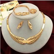 Dubai Gold Schmuck Sets Nigerian Hochzeit Afrikanische Perlen Kristall Braut Schmuck Set Strass Äthiopischen Schmuck parure(China)