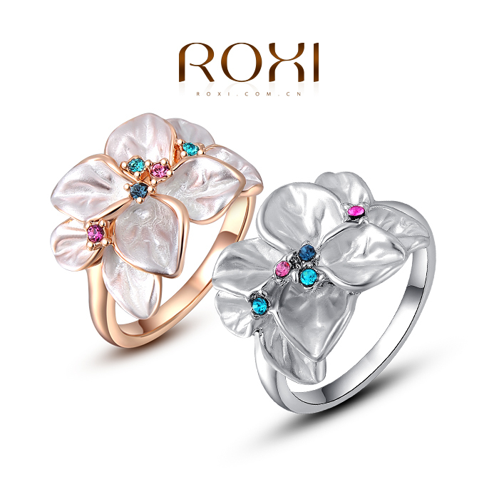 ROXI Summer Gift Classic Genuine Austrian Crystals leaves Rose Gold Plated Flower Ring Jewelry Party OFF