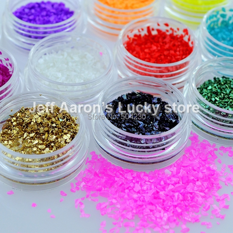 12 Colors Nail Art Glitter Crushed Shell Acrylic Nail Decoration Tools Glass Fragments New in 2015(China (Mainland))