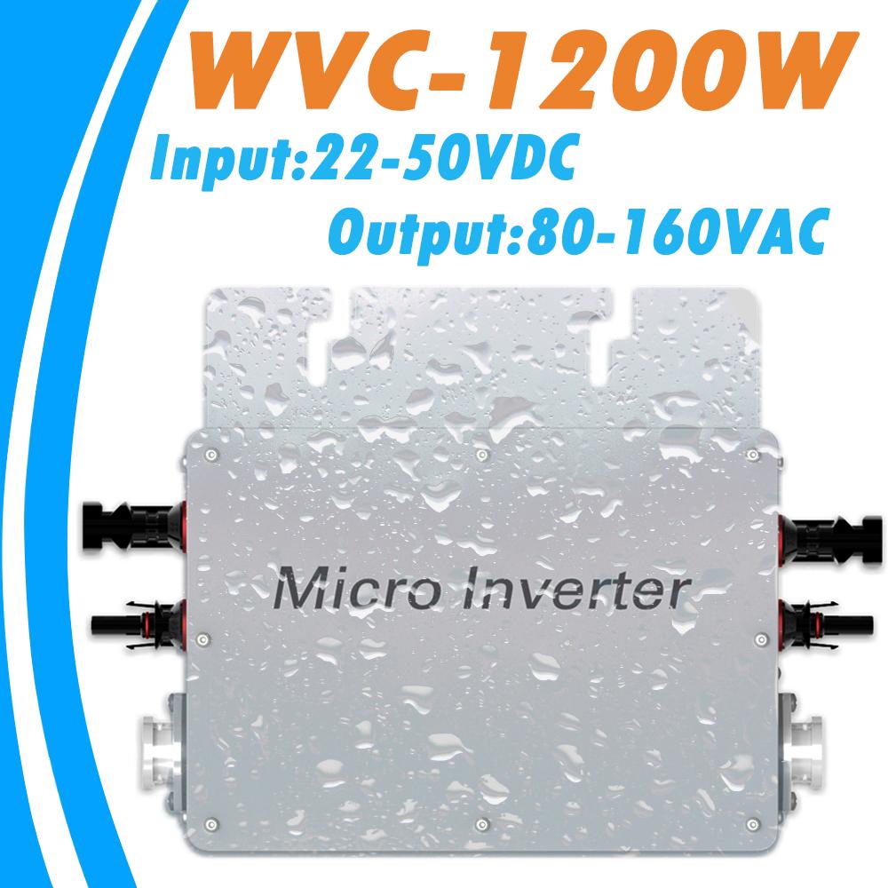 MPPT Pure Sine Wave Inverter 1200W 22V-50VDC Input 80-160VAC Output Waterproof Grid Tie Micro Inverter for 36V PV System(China (Mainland))