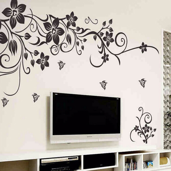 Diy wall art decal decoration fashion romantic flower wall for Decoration autocollant mural