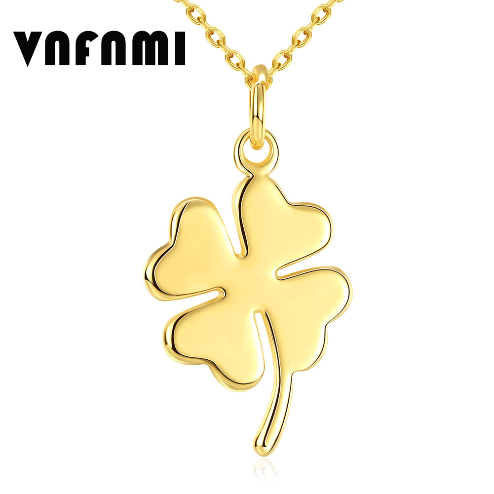 Valentine's Day Romantic Four Leaf Clover 18K Gold Plated Pendant Necklace for Women Clover Necklace Pendant Necklaces for Lover(China (Mainland))