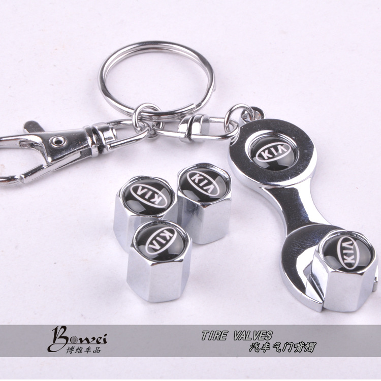 New Hot Sale Car Wheel Tire Valve Caps with Mini Wrench Keychain For KIA 4 Piece