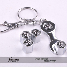 New Hot Sale Car Wheel Tire Valve Caps with Mini Wrench & Keychain For KIA (4-Piece/Pack)(China (Mainland))