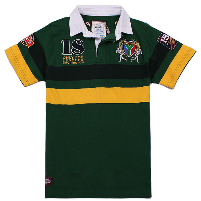 Kevingston South Africa Rugby Jersey Men Short Sleeve Cotton Rugby Shirt 18#(China (Mainland))