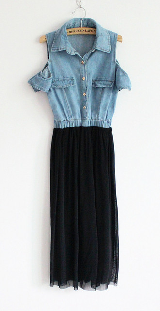 Denim high waist strapless chiffon short-sleeve dress slim fashion gauze full dress summer