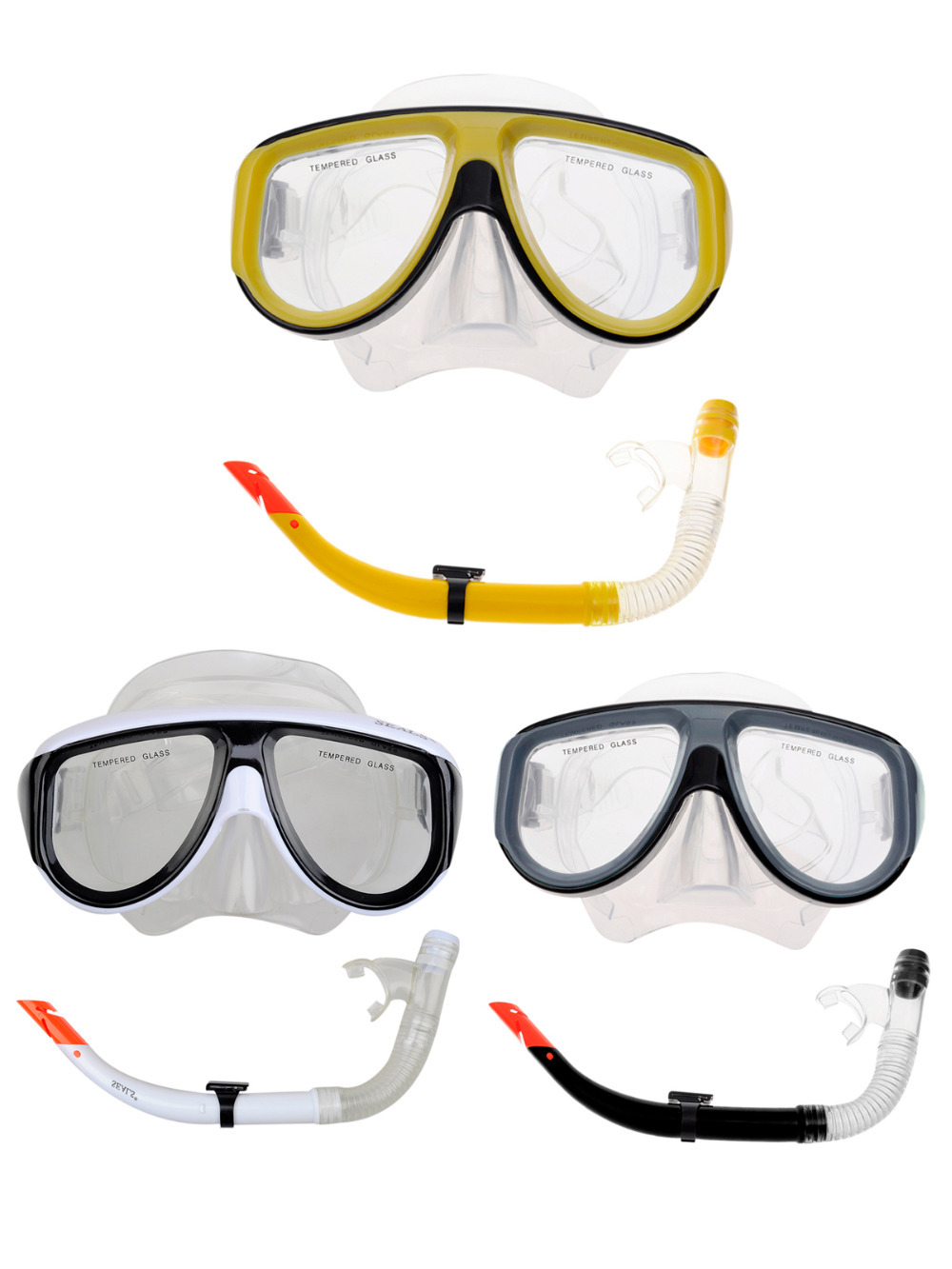 Top Adults Diving Mask Dry Snorkel Sets- Silicone Dry Top Snorkel / Wide Windows Tempered Glass Mask(China (Mainland))