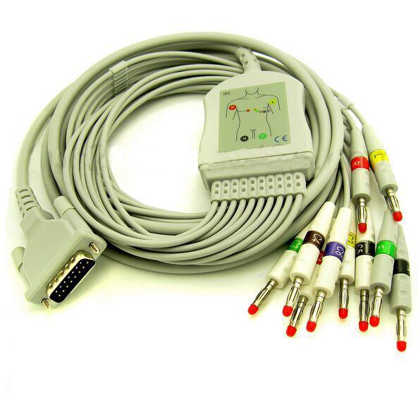 Free Shipping Schiller 10 Lead ECG/EKG Cable AHA Banana 4.0mm AT3 AT6 CS6 AT5 AT10 AT60 <br><br>Aliexpress