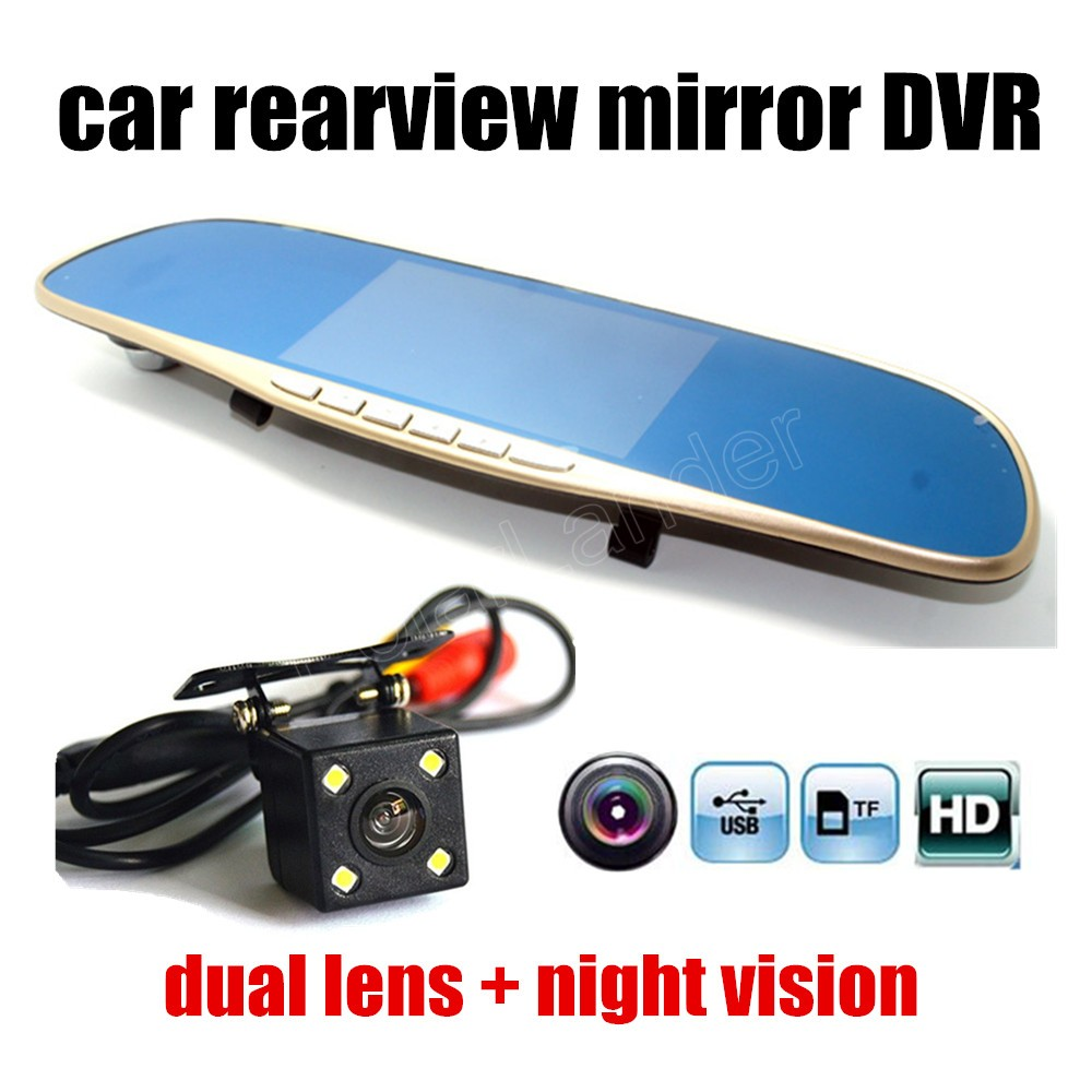 5.0 Inch FHD 1080P Dual lens car DVR with back camera parking Rearview mirror car video recorder nigh vision hig quality(China (Mainland))
