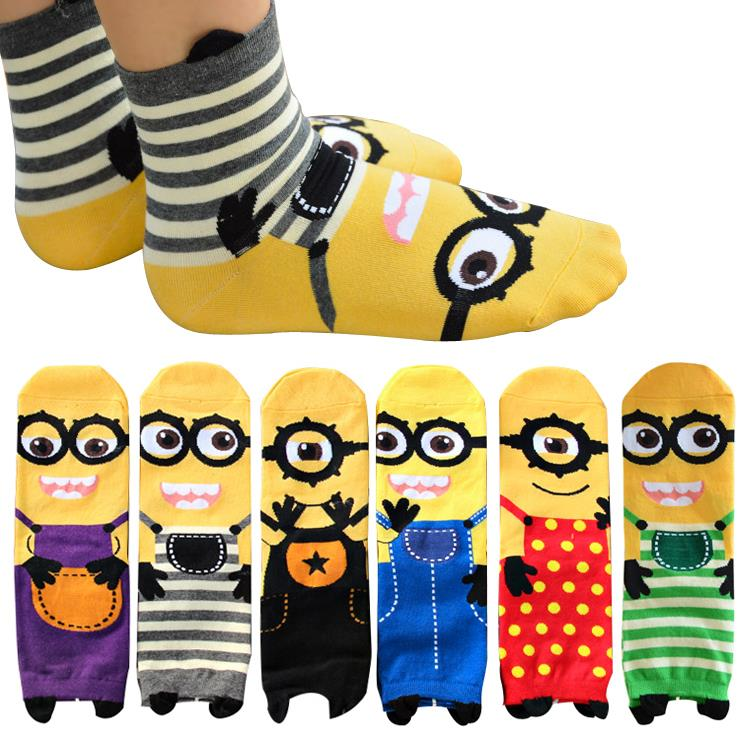 2015 New women Minion Socks cute cartoon sox summer South Korean style Fashion Cotton Printing Tube