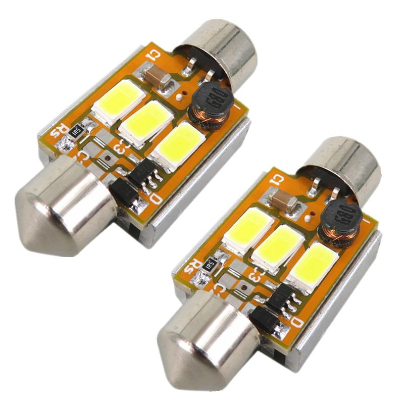 2pcs Pure White Car 36mm Led 6418 3W 5630 SMD 12V Car Lamp C5W Led Canbus License Number Plate Light Bulb For FORD FIESTA ST(China (Mainland))