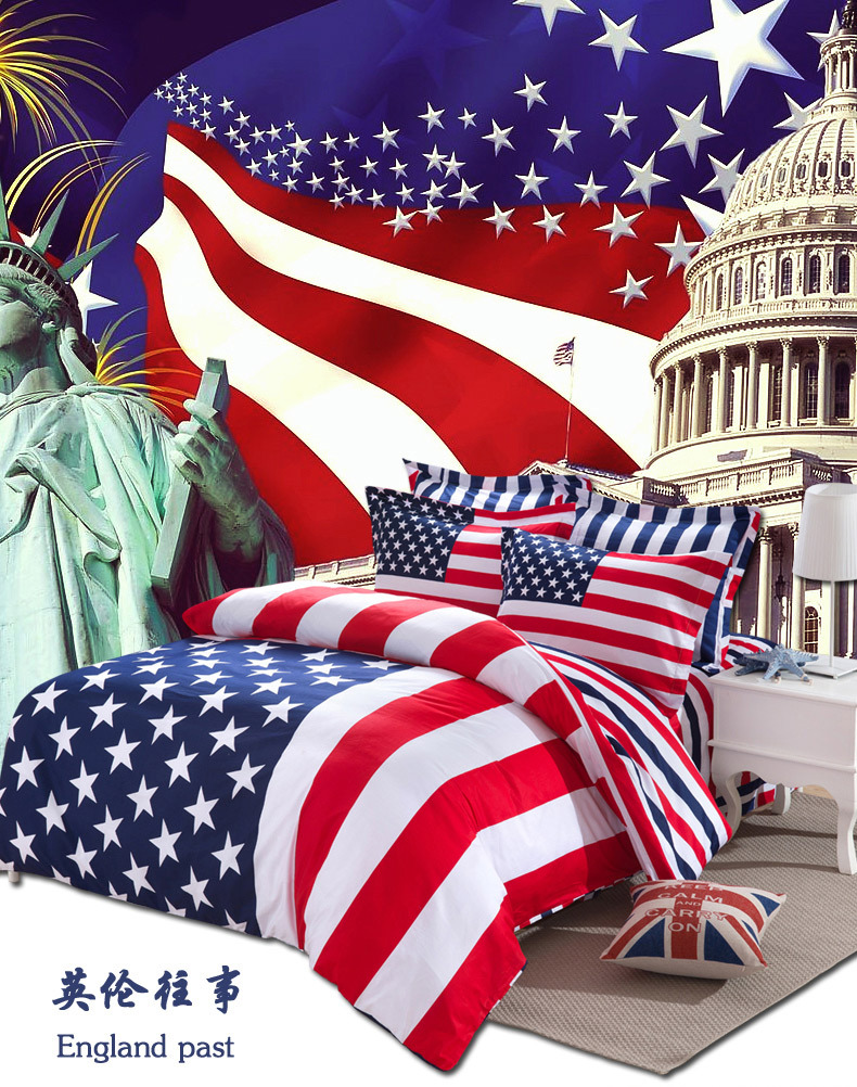 American flag union jack bedding bedclothes cover for bed for Housse de couette king size
