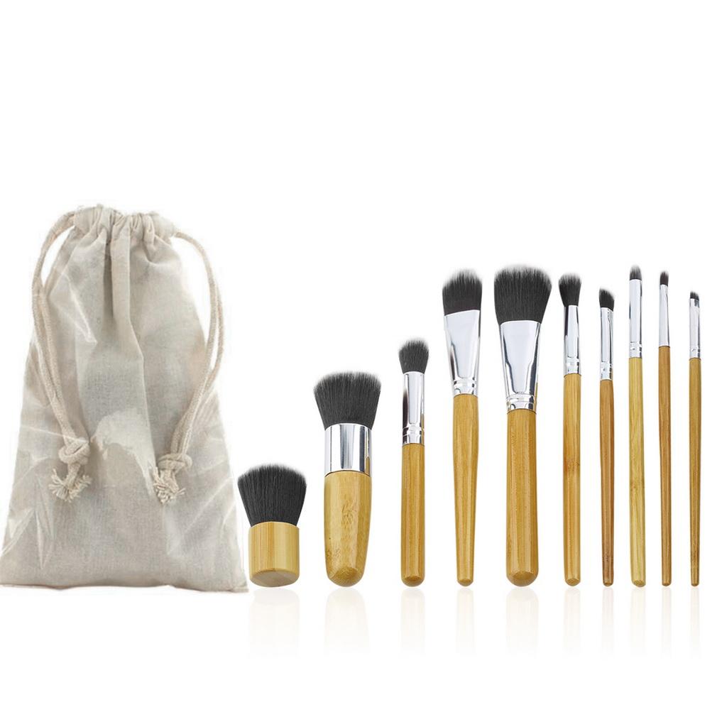 10 PCS Professional Pro Cosmetic Brush set Bamboo Handle Synthetic Makeup Brushes Kit make up brushes set tools(China (Mainland))