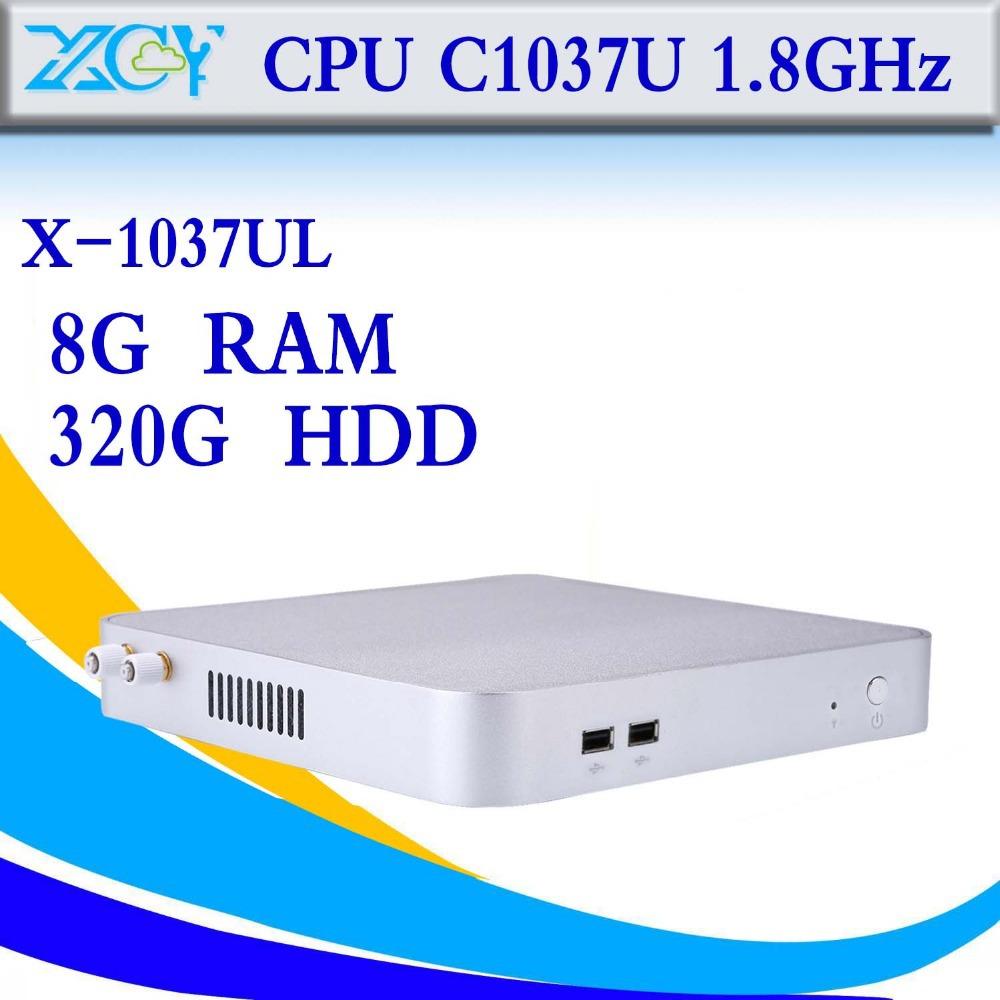 The cheapest desktop computer case Intel C1037U 8g ram 320g hdd desktop pc support full screen movies mini pc thin client(China (Mainland))