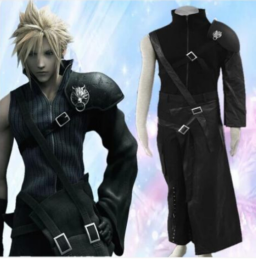 2015 Limited Time-limited Adult Men Faux Leather Knitted Sleeve less Final Fantasy Vii Cloud Strife Mens Cosplay CostumeОдежда и ак�е��уары<br><br><br>Aliexpress